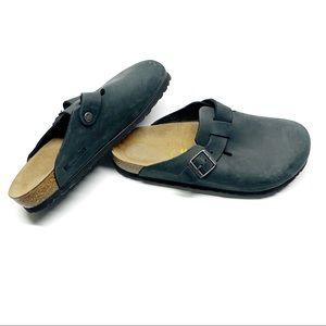 ❤️ Birkenstock Boston Blue Leather Clogs